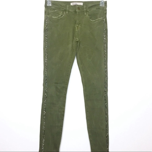 Zara Embellished Stripe Skinny Jeans 4 Green